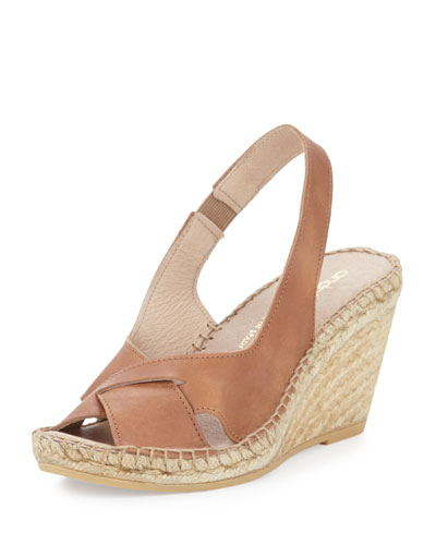 Andre Assous Cortland Slingback Espadrille Wedge, Cuero