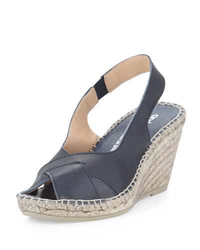 Andre Assous Cortland Slingback Espadrille Wedge, Navy