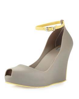 Melissa Shoes Patchouli VII Ankle-Wrap Jelly Wedge
