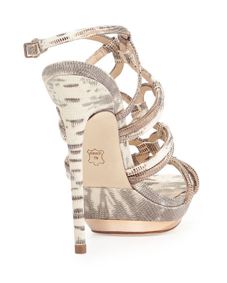 Farrow Metallic Lizard Embossed Strappy Sandal, Mushroom