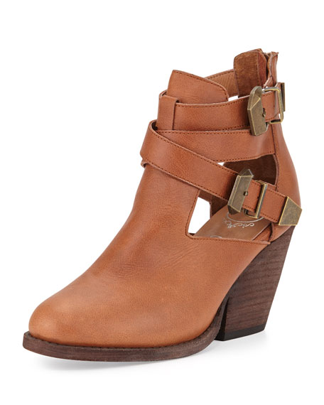 Watson Buckled Cutout Leather Bootie, Tan/Bronze