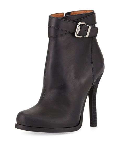 Belair Leather High-Heel Bootie, Black