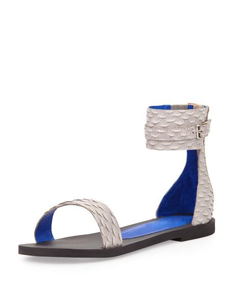 Islip Snake-Embossed Printed Flat Sandal, Gray