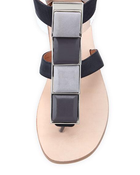 4-Square T-Strap Flat Sandal, Black/Gray