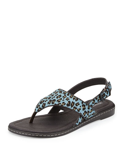 Donald J Pliner Gal Leopard-Print Calf Hair Thong Sandal, Blue