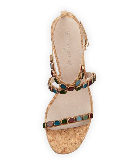 Wondra Jeweled Cork Wedge Sandal, Natural