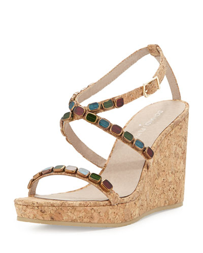 Donald J Pliner Wondra Jeweled Cork Wedge Sandal, Natural