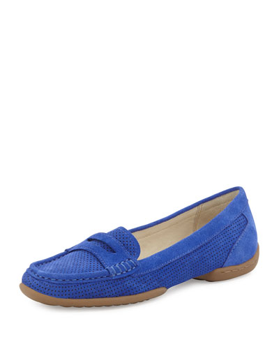 Donald J Pliner Vegga Perforated Suede Loafer, Indigo