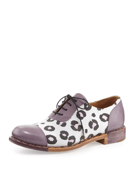 Mr. Hampton Leopard-Print Oxford, Purple/White