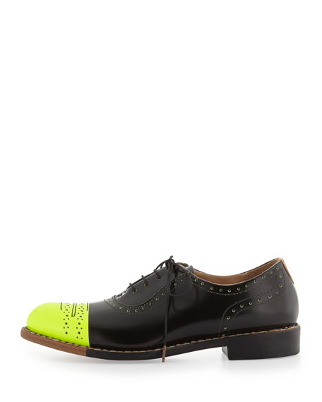Mr. Dorchester Neon Cap-Toe Oxford, Black/Yellow