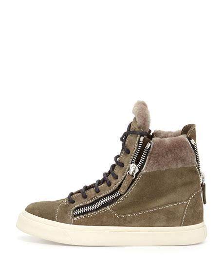 Suede Zip High-Top Sneaker, Jasmine