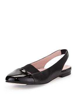 Taryn Rose Brettly Cap-Toe Leather Slingback, Black