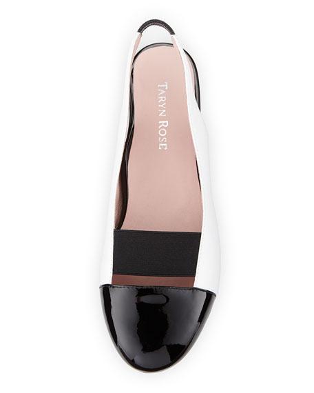 Brettly Cap-Toe Leather Slingback, Black/White