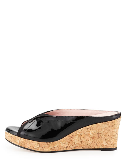 Selinda Cork-Wedge Leather Slide Sandal, Black
