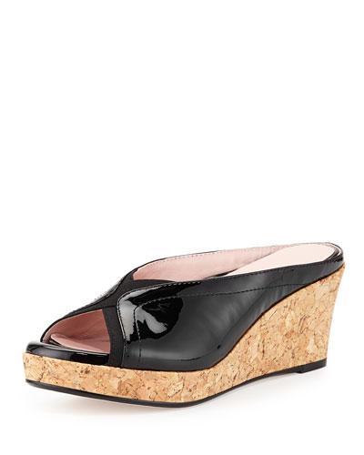 Taryn Rose Selinda Cork-Wedge Leather Slide Sandal, Black