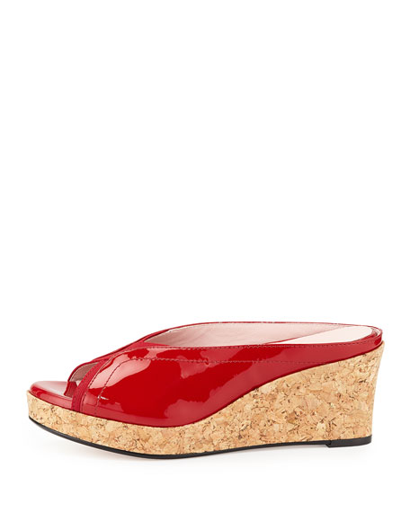 Selinda Cork-Wedge Leather Slide Sandal, Red