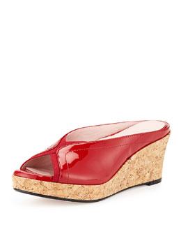 Taryn Rose Selinda Cork-Wedge Leather Slide Sandal, Red