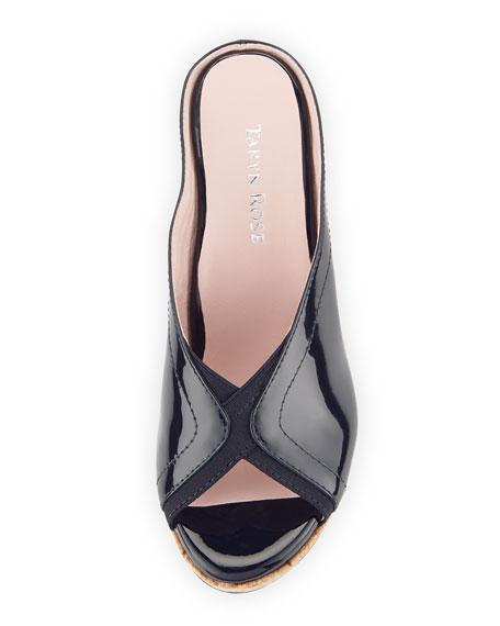Selinda Cork-Wedge Leather Slide Sandal, Navy
