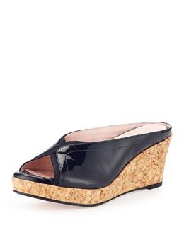 Taryn Rose Selinda Cork-Wedge Leather Slide Sandal, Navy