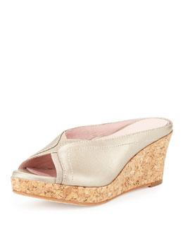 Taryn Rose Selinda Cork-Wedge Leather Slide Sandal, Soft Gold