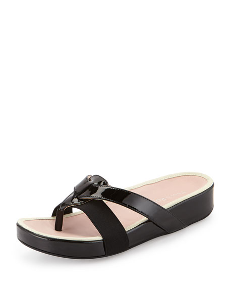 Austen Patent Thong Sandal, Black