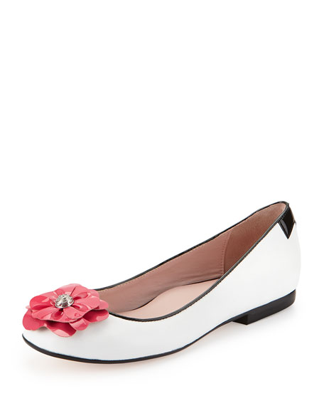 Britten Flower Ballerina Flat, White/Flash Pink