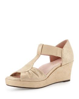 Taryn Rose Sarin Bow T-Strap Wedge Sandal, Beige/Gold