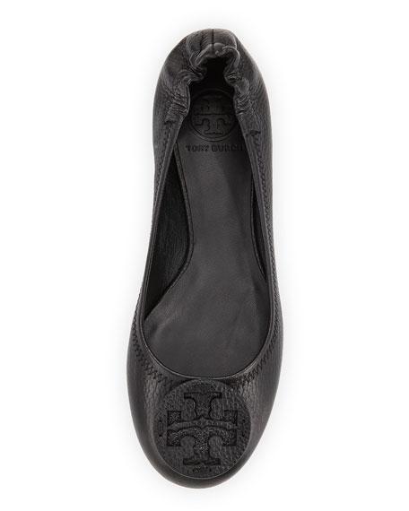 Reva Tumbled Leather Ballerina Flat, Black