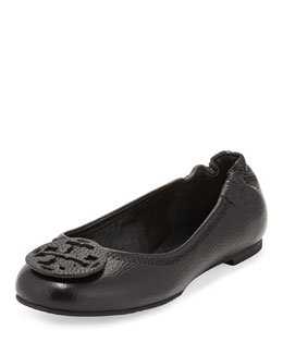 Tory Burch Reva Tumbled Leather Ballerina Flat, Black
