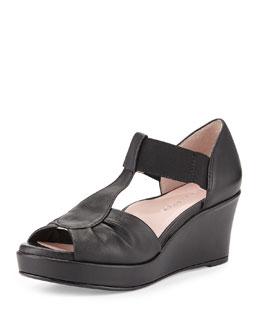 Taryn Rose Sarin Bow T-Strap Wedge Sandal, Black