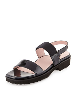 Taryn Rose Tamie Patent Double-Strap Sandal, Navy