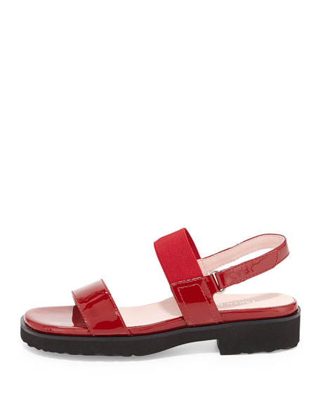Tamie Double-Band Sandal, Red