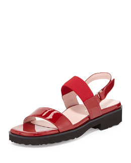 Taryn Rose Tamie Double-Band Sandal, Red