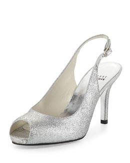 Stuart Weitzman Litely Glitter Slingback Sandal, Silver
