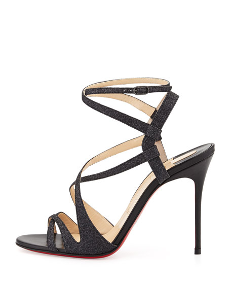 Audrey Strappy Glitter Red Sole Sandal, Black