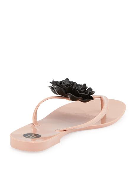 Harmonic Floral Thong Sandal, Nude/Black