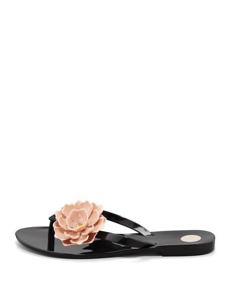 Harmonic Floral Thong Sandal, Black/Nude