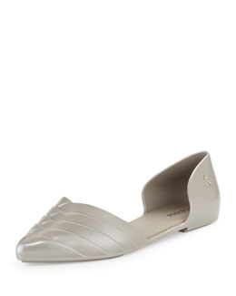 Melissa Shoes Petal Pointed Jelly d'Orsay Flat, Black