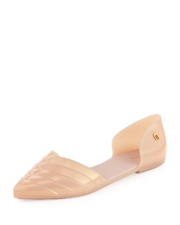 Melissa Shoes Petal Pointed Jelly d'Orsay Flat, Nude