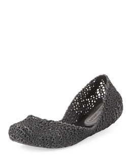 Melissa Shoes Campana Papel V Jelly Flat, Black