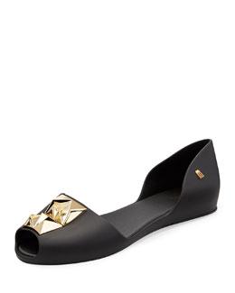 Melissa Shoes Fresh Bloom II Stud-Ornament Jelly Flat