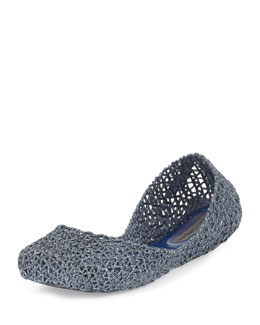 Melissa Shoes Campana Papel V Jelly Flat, Navy