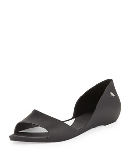Melissa Shoes Sweet Dreams Open-Toe Jelly Flat, Black