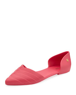 Melissa Shoes Petal Pointed Jelly d'Orsay Flat, Pink