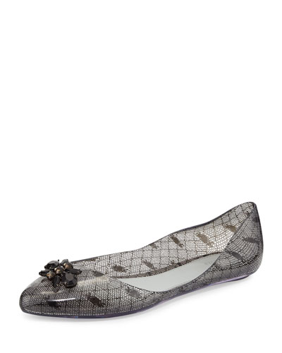 Melissa Shoes Melissa + Jason Wu Trippy Printed Jelly Flat, Black/White