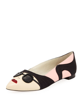 Alice + Olivia Stacey Face Pointy Flat, Soft Pink