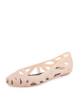 Melissa Shoes Jean + Jason Wu III Cutout Jelly Flat, Nude