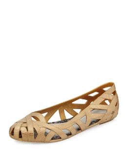 Melissa Shoes Jean + Jason Wu III Cutout Jelly Flat, Gold