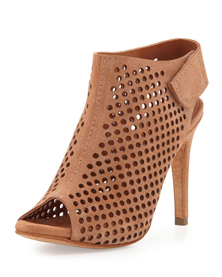 Sofia Perforated Suede Peep-Toe Bootie, Adobe