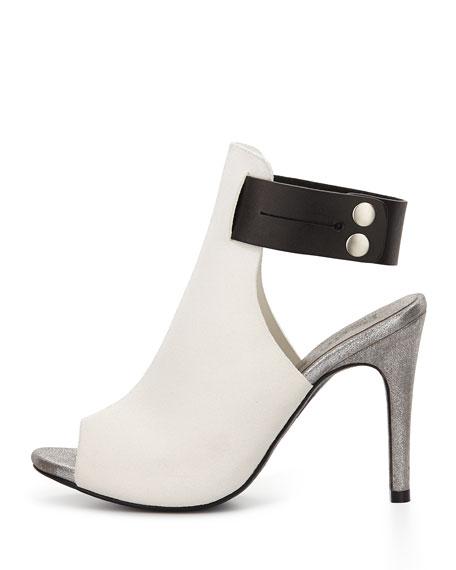 Samantha Leather Peep-Toe Sandal, Black/White